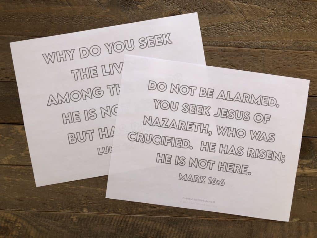 Easter Memory Verse Sheets