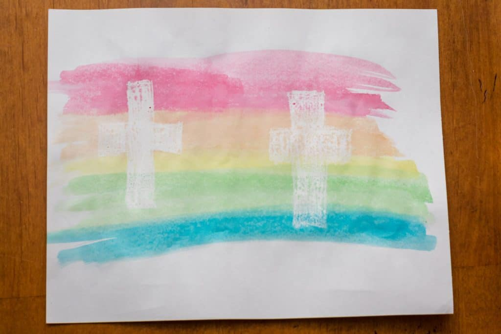 Water Color Resist Cross Painting