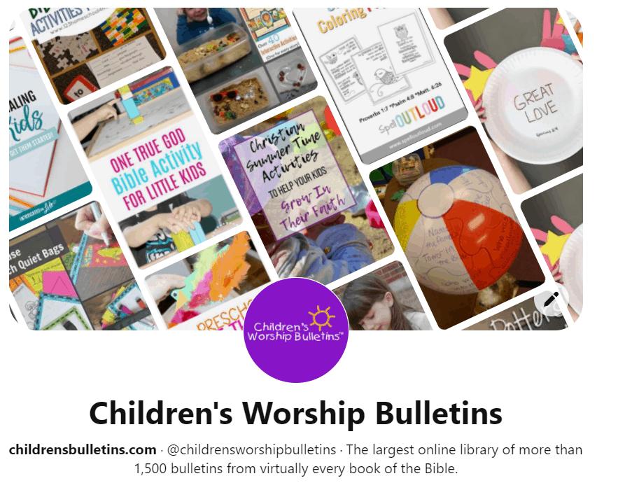 Screenshot of Children's Worship Bulletins Pinterest Page